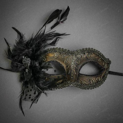 Crystal Glitter Venetian Women Feather Mask - Dark Gold Black