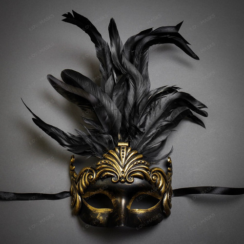 Unisex Men Women Venetian Tall Feather Masquerade Mask - Dark Gold Black