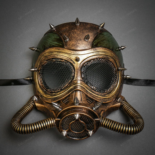 Steampunk Full Face Skull Mask Gas Pipe Submarine - Black Gold
