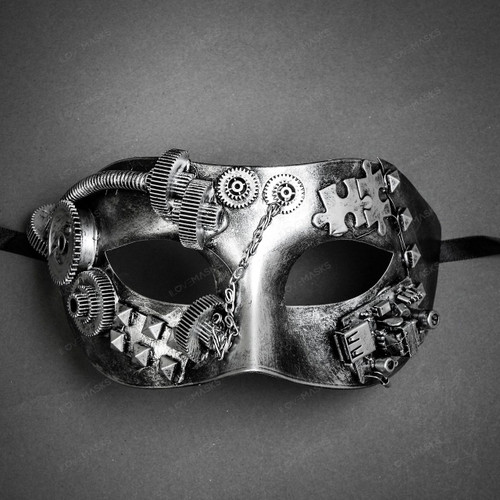 Steampunk Masquerade Half Face Eye Mask - Silver
