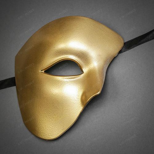 Phantom of the Opera Half Face Masquerade Mask - Gold