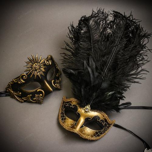 Black Gold Venetian Sun Warrior Greek Men & Gold Black Mardi Gras Top Feather Couple Masks Set