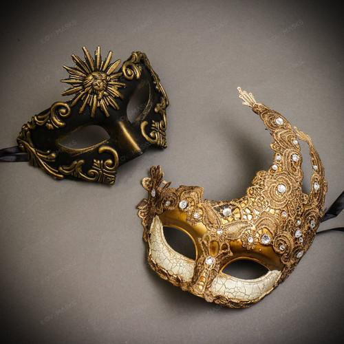 Black Gold Sun Greek  Warrior & White Gold Luna Venetian with Lace Couple Masks Set