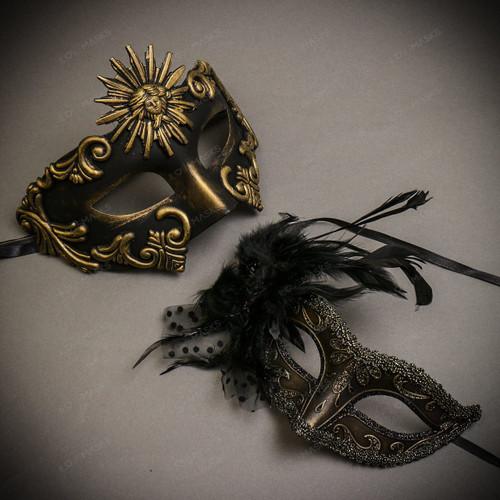 Black Gold Venetian Sun Warrior Greek Men & Dark Gold Glitter with Feather Couple Masks Set
