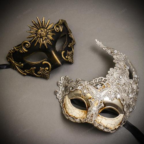 Black Gold Sun Greek  Warrior & Silver Grey Luna Venetian with Lace Couple Masks Set