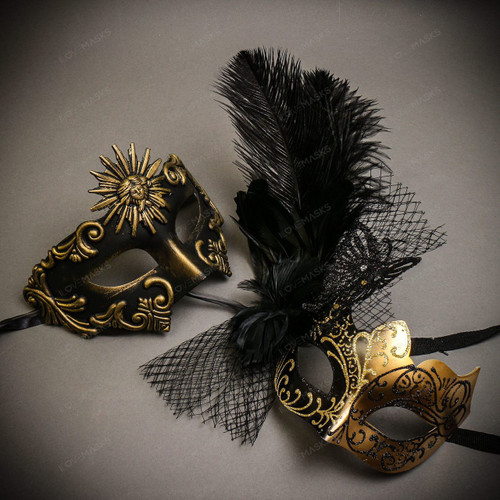 Black Gold Venetian Sun Warrior Greek Men & Black Gold Butterfly Lace with Feather Couple Masks Set