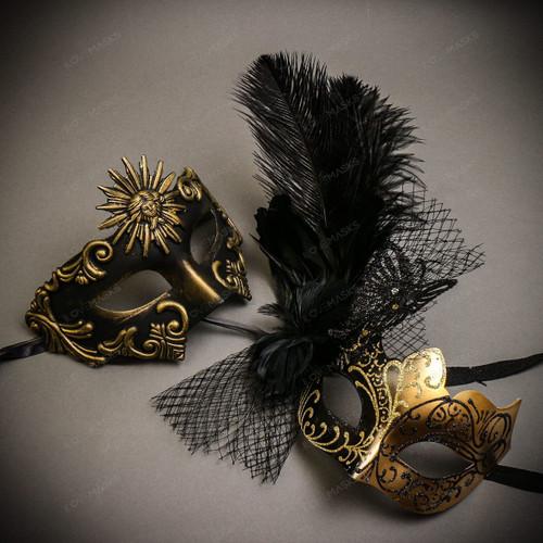 Black Gold Venetian Sun Warrior Greek Men & Black Gold Butterfly Lace with Feather Couple Masks Set