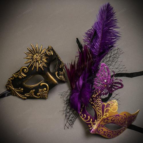 Black Gold Venetian Sun Warrior Greek Men & Purple Gold Butterfly Lace with Feather Couple Masks Set