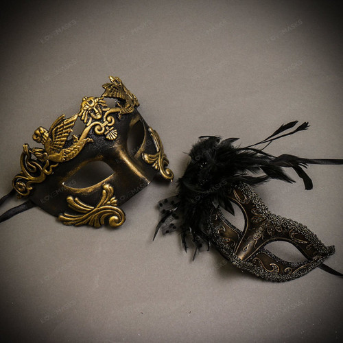 Black Gold Venetian Roman Warrior Greek Men & Dark Gold Glitter with Feather Couple Masks Set