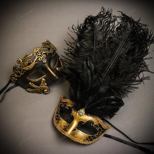Black Gold Venetian Roman Warrior Greek Men & Gold Black Mardi Gras Top Feather Couple Masks Set