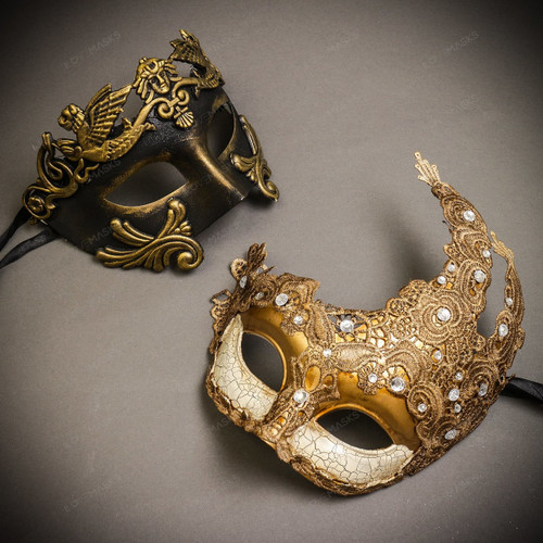 Black Gold Venetian Roman Warrior Greek Men & White Gold Luna Venetian with Lace Couple Masks Set