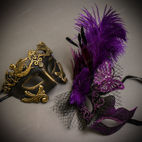 Black Gold Venetian Roman Warrior Greek Men & Black Purple Butterfly Lace with Feather Couple Masks Set