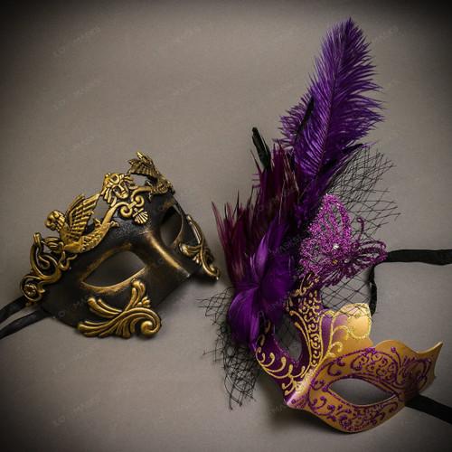 Black Gold Venetian Roman Warrior Greek Men & Purple Gold Butterfly Lace with Feather Couple Masks Set