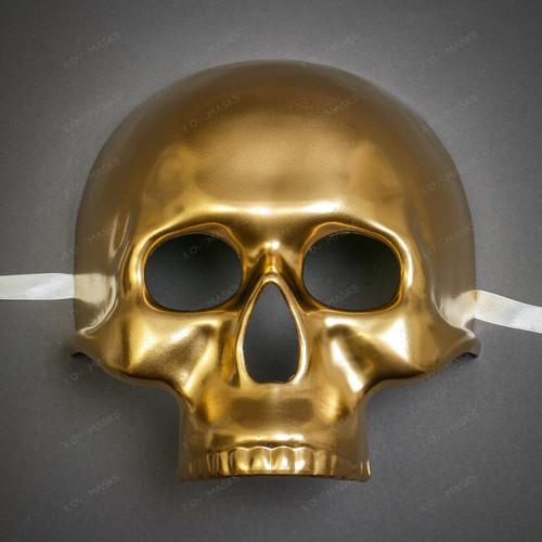 Halloween Skull Skeleton Adult Costume Masquerade Face Mask - Gold