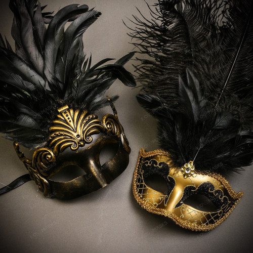 Black Gold Roman Greek Emperor with Tall Feather Men & Gold Black Mardi Gras Top Feather Couple Masks Set