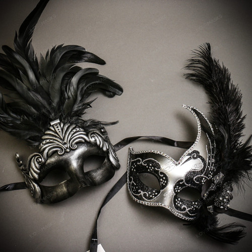 Black Silver Roman Greek Emperor with Tall Feather Men & Silver Black Side Feather Glitter Couple Masks Set