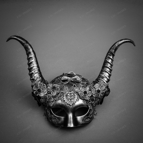 Evil Witch Gothic Horn Lace Women Mask - Black Silver