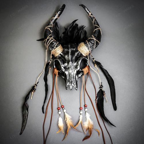 Antelope Devil Horns Animal Skull Ghost Masquerade Mask - Black Silver