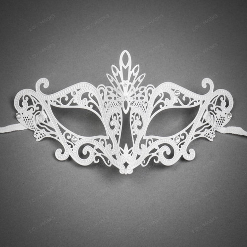 Venetian Masquerade Laser Cut Mask Silver Rhinestone - White