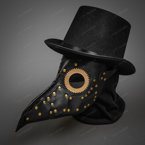 Halloween Steampunk Plague Doctor Mask Masquerade with Top Hat- Black