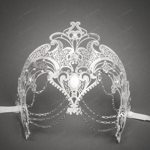 Queen Laser Cut Metal Venetian Masquerade Rhinestone Mask - Silver White
