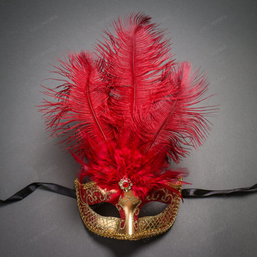 Venetian Women Tall Feather Masquerade Mask - Gold Red