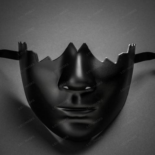 Unpainted Lower Half Face Costume Masks Masquerade - Black