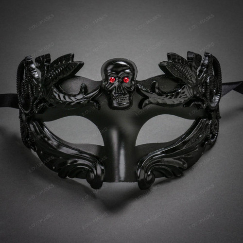Venetian Warrior Masquerade with Red Eye Skull Mask - Black