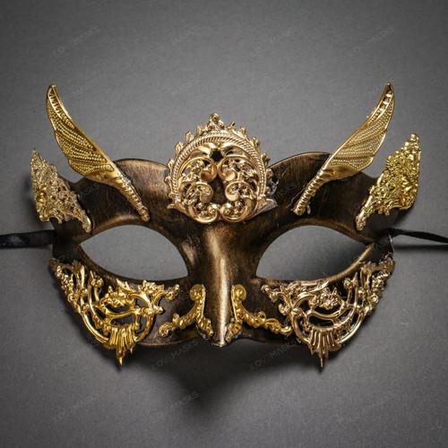 Roman Greek God of Hermes Venetian Mask - Black Gold