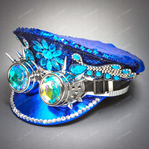 Military Burning Man Top Hat with Kaleidoscope 3D Goggle - Blue (USM-FS1183-BL)