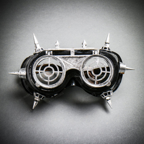 Steampunk Goggles Eye Mask Costume with Flip Up Glasses - Black Silver