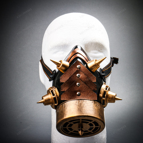 Half Face Steampunk Respirator Gas Mask with Spiked - Black Gold
