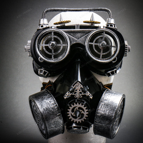 Steampunk Gear Goggles Glasses and Respirator Gas Mask Costume Set - Black Silver