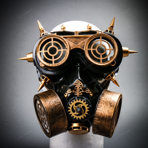 Steampunk Spiked Goggles Glasses and Respirator Gas Mask Costume Set - Black Gold