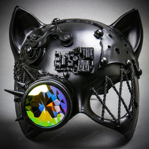 Steampunk with Monocular Gatto Cat Venetian Mask Masquerade - Black