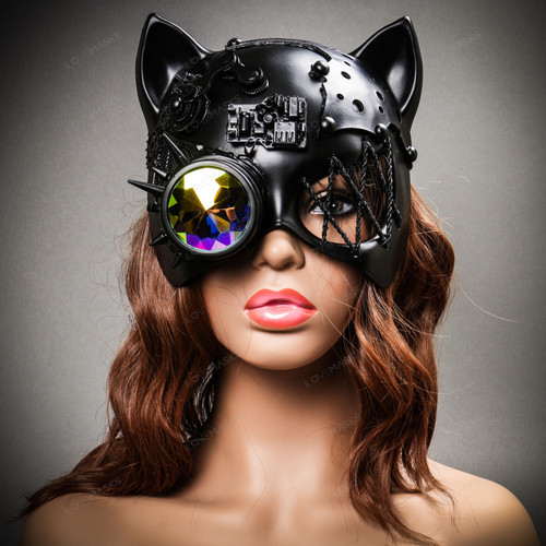 Steampunk Monocular Gatto Cat Venetian Mask Masquerade - Black