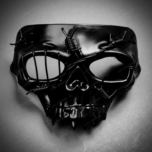 Grim Reaper The Death Masquerade Half Face Mask - Black