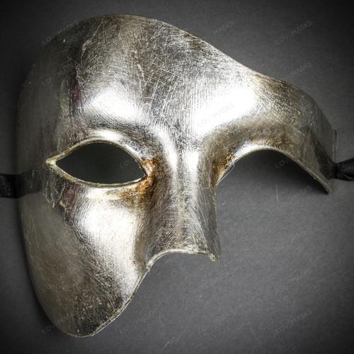 Phantom Venetian Masquerade Half Face Party Mask - Metal Silver