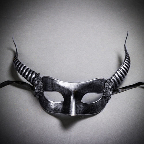 Devil Masquerade with Horns Halloween Eye Mask - Black Silver