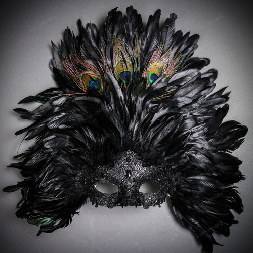 Luxury Traditional Venice Women Carnival Masquerade Venetian Mask with Top Feather - Black