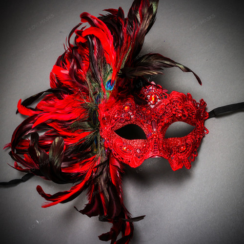 Luxury Traditional Venice Women Carnival Masquerade Venetian Mask - Red