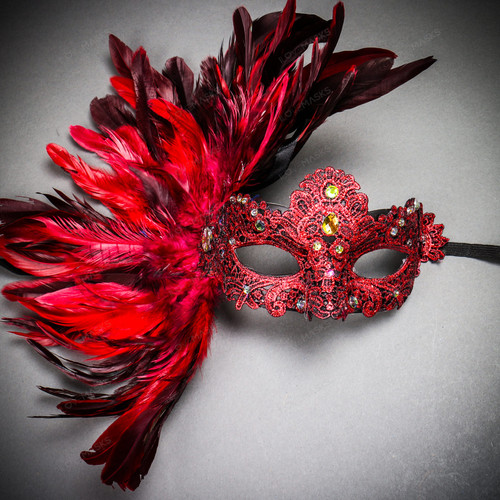 Luxury Venice Women Carnival Masquerade Venetian Mask with side Feather - Red