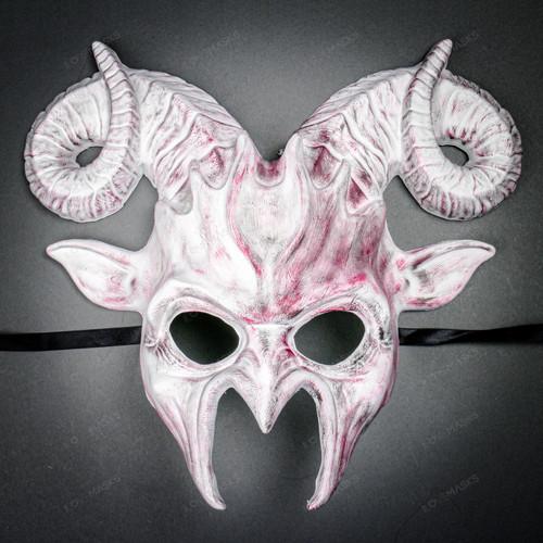 Krampus Ram Demon with Horns Devil Halloween Mask - White Red (Front View)