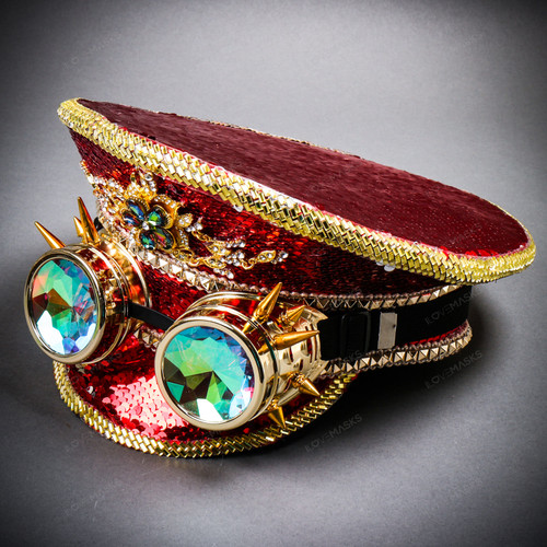 Steampunk Burning Man Festival Captain Hat Party Costume 3D Rhinestones Top Hat - Red Gold