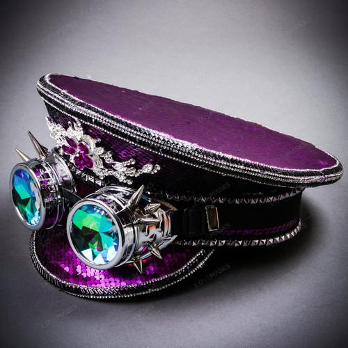 Steampunk Burning Man Festival Captain Hat Party Costume 3D Rhinestones Top Hat - Purple Silver