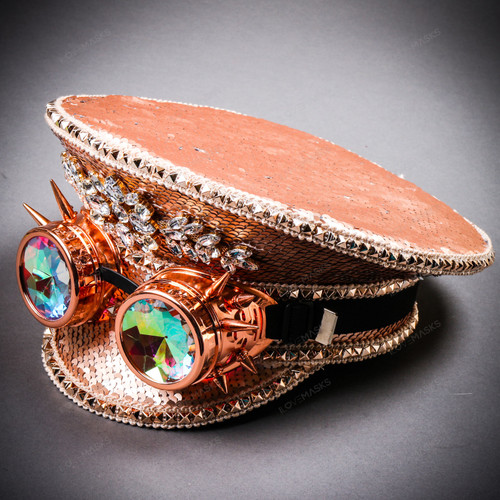 Steampunk Burning Man Festival Captain Hat Party Costume 3D Rhinestones Top Hat - Pink Silver