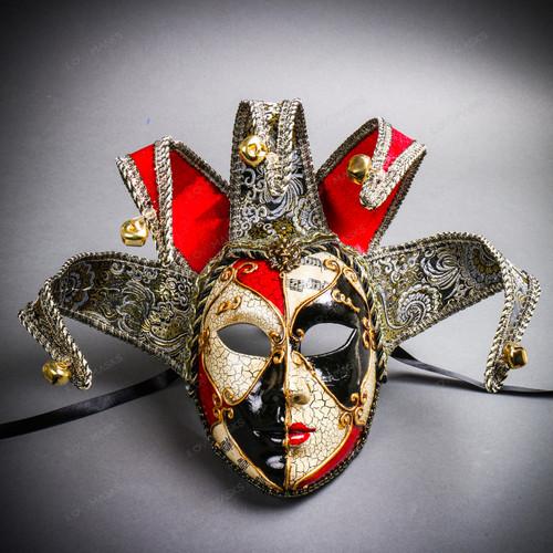 Jester Joker Venetian Masquerade Full Face Mask with Bells - Red Black