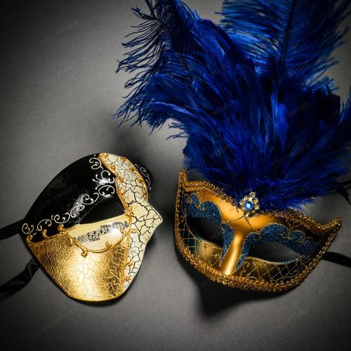 Phantom Half Face Musical Black Gold & Venetian Gold Mardi Gras Blue Tall Feather Couple Masks