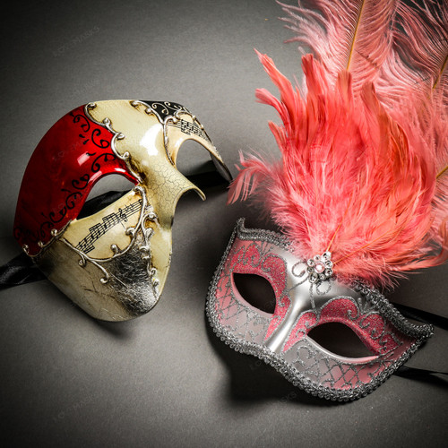Phantom Full Face Musical Red Gold & Venetian Silver Mardi Gras Pink Tall Feather Couple Masks