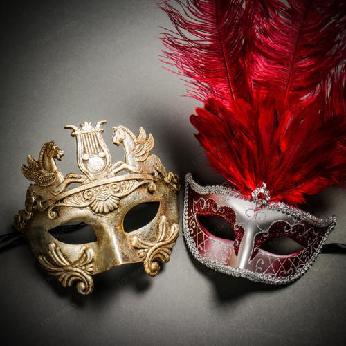 Pegasus Horses Emperor Metallic Silver & Venetian Silver Mardi Gras Red Tall Feather Couple Masks